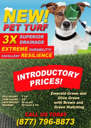 New PET TURF with 3X Drainage Capacity Has Arrived! artificial grass